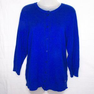 Ellen Tracy Blue Button Up Cardigan